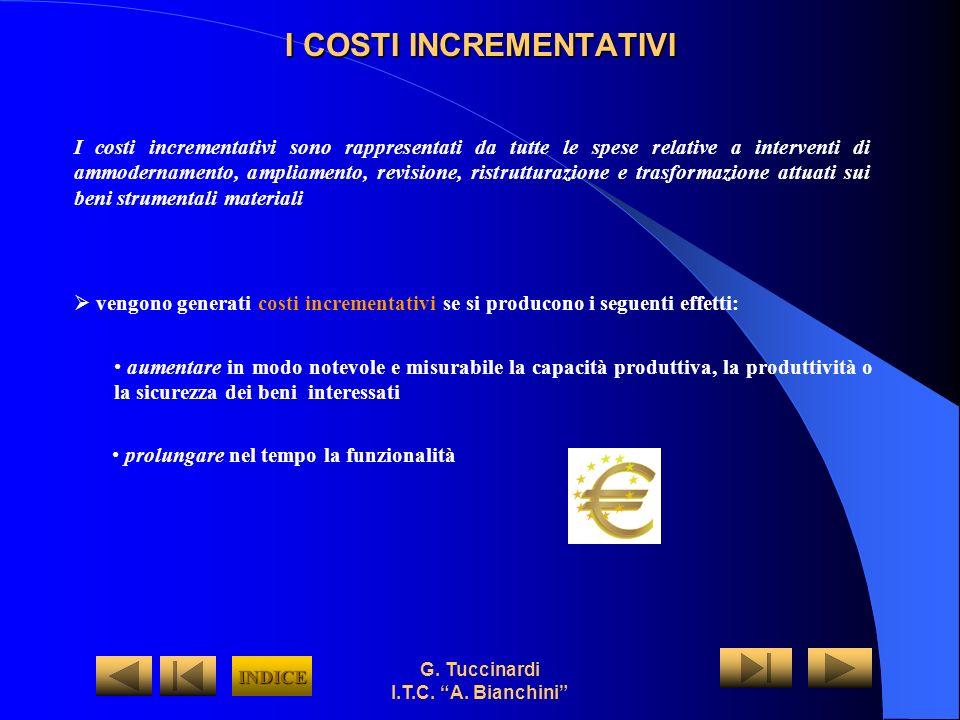 G. Tuccinardi I.T.C. A. Bianchini I COSTI INCREMENTATIVI I costi incrementativi sono rappresentati da tutte le spese relative a interventi di ammodern