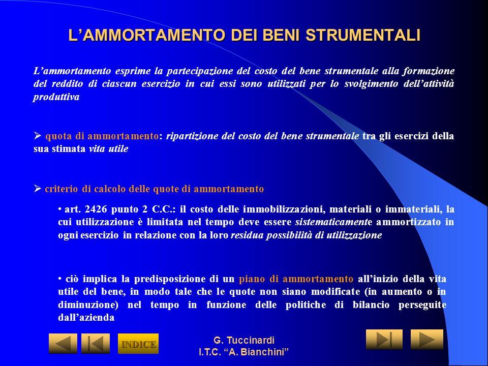 G. Tuccinardi I.T.C. A. Bianchini LAMMORTAMENTO DEI BENI STRUMENTALI Lammortamento esprime la partecipazione del costo del bene strumentale alla forma