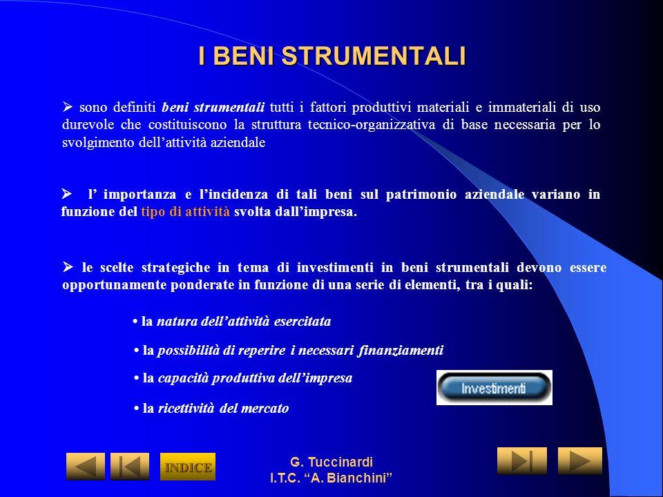 G. Tuccinardi I.T.C. A. Bianchini I BENI STRUMENTALI sono definiti beni strumentali tutti i fattori produttivi materiali e immateriali di uso durevole