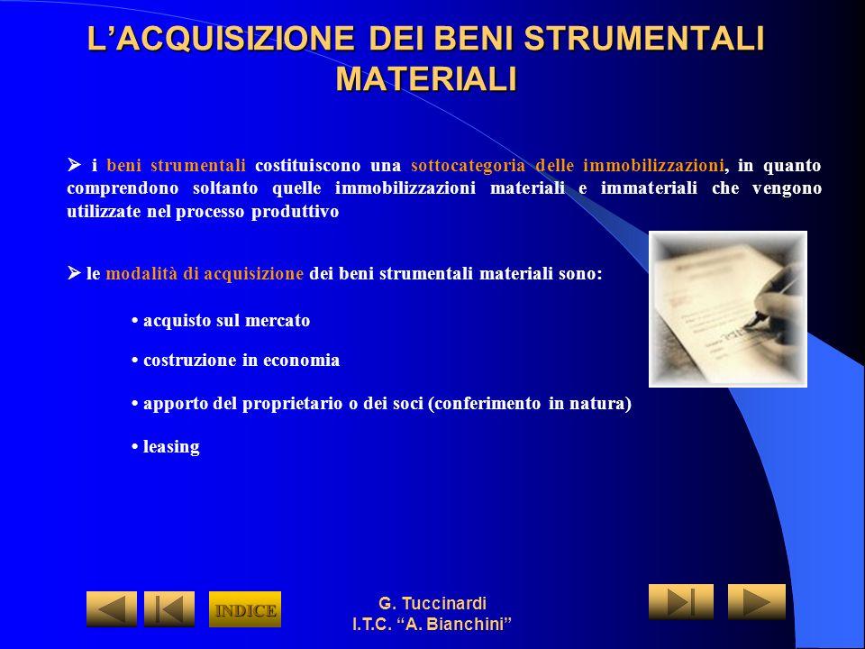 G. Tuccinardi I.T.C. A. Bianchini LACQUISIZIONE DEI BENI STRUMENTALI MATERIALI le modalità di acquisizione dei beni strumentali materiali sono: acquis