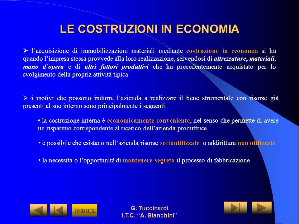G. Tuccinardi I.T.C. A. Bianchini LE COSTRUZIONI IN ECONOMIA lacquisizione di immobilizzazioni materiali mediante costruzione in economia si ha quando