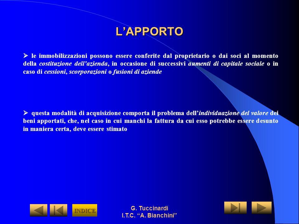 G. Tuccinardi I.T.C. A. Bianchini LAPPORTO le immobilizzazioni possono essere conferite dal proprietario o dai soci al momento della costituzione dell