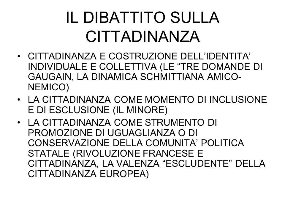 IL DIBATTITO SULLA CITTADINANZA CITTADINANZA E COSTRUZIONE DELLIDENTITA INDIVIDUALE E COLLETTIVA (LE TRE DOMANDE DI GAUGAIN, LA DINAMICA SCHMITTIANA AMICO- NEMICO) LA CITTADINANZA COME MOMENTO DI INCLUSIONE E DI ESCLUSIONE (IL MINORE) LA CITTADINANZA COME STRUMENTO DI PROMOZIONE DI UGUAGLIANZA O DI CONSERVAZIONE DELLA COMUNITA POLITICA STATALE (RIVOLUZIONE FRANCESE E CITTADINANZA, LA VALENZA ESCLUDENTE DELLA CITTADINANZA EUROPEA)