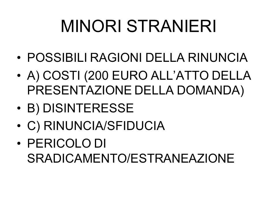 MINORI STRANIERI POSSIBILI RAGIONI DELLA RINUNCIA A) COSTI (200 EURO ALLATTO DELLA PRESENTAZIONE DELLA DOMANDA) B) DISINTERESSE C) RINUNCIA/SFIDUCIA PERICOLO DI SRADICAMENTO/ESTRANEAZIONE