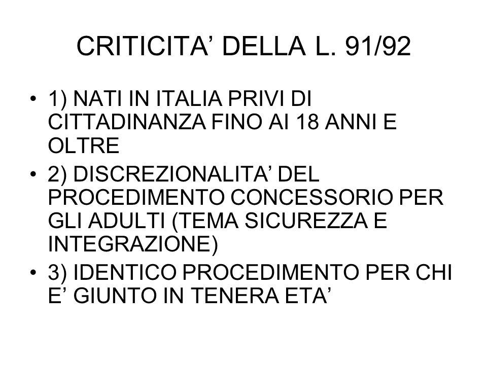 CRITICITA DELLA L.
