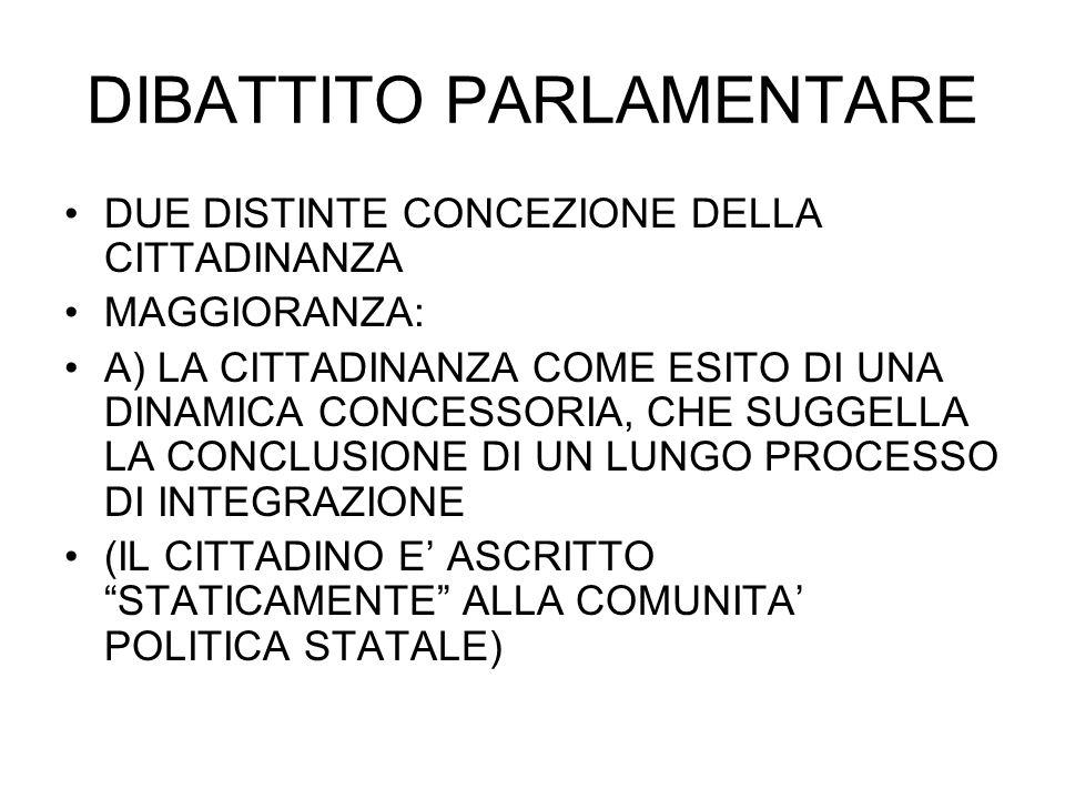 DIBATTITO PARLAMENTARE DUE DISTINTE CONCEZIONE DELLA CITTADINANZA MAGGIORANZA: A) LA CITTADINANZA COME ESITO DI UNA DINAMICA CONCESSORIA, CHE SUGGELLA LA CONCLUSIONE DI UN LUNGO PROCESSO DI INTEGRAZIONE (IL CITTADINO E ASCRITTO STATICAMENTE ALLA COMUNITA POLITICA STATALE)