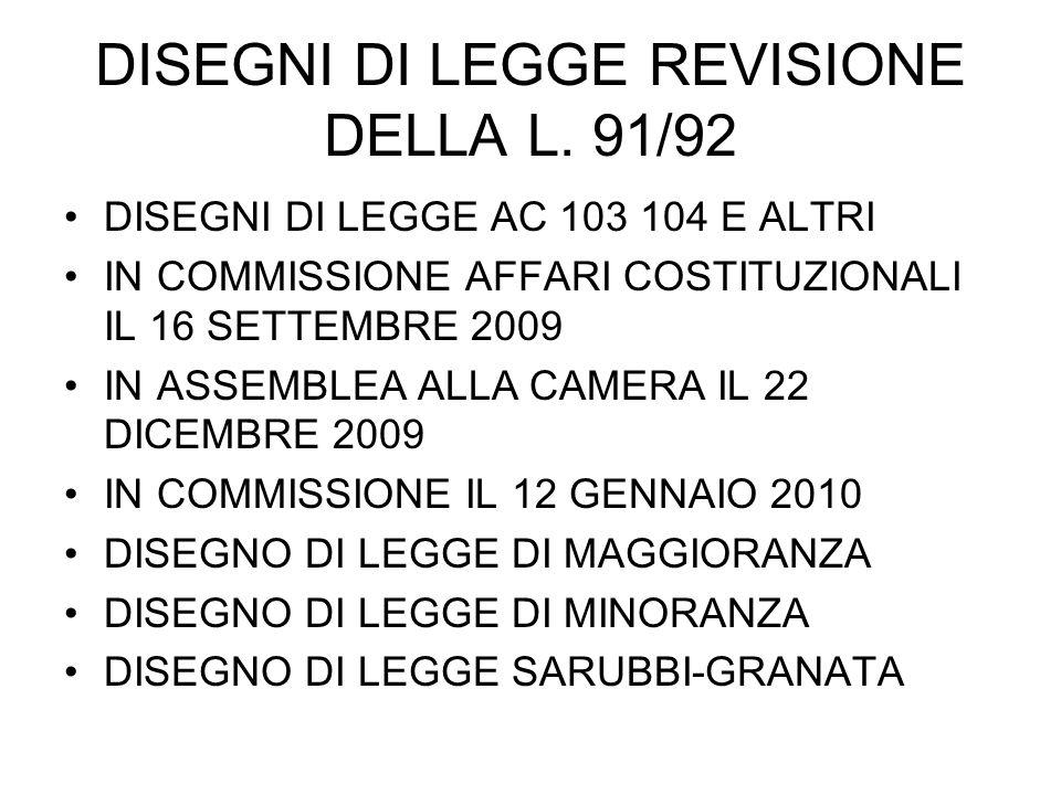 DISEGNI DI LEGGE REVISIONE DELLA L.