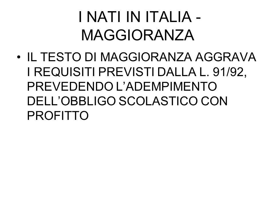 I NATI IN ITALIA - MINORANZA MINORANZA: ACQUISTO IURE SOLI A CONDIZIONE: A) CHE UNO DEI GENITORI SIA LEGALMENTE SOGGIORNANTE DA ALMENO 5 ANNI B) CHE UNO DEI GENITORI SIA NATO IN ITALIA E VI RISIEDA LEGALMENTE DA ALMENO UN ANNO