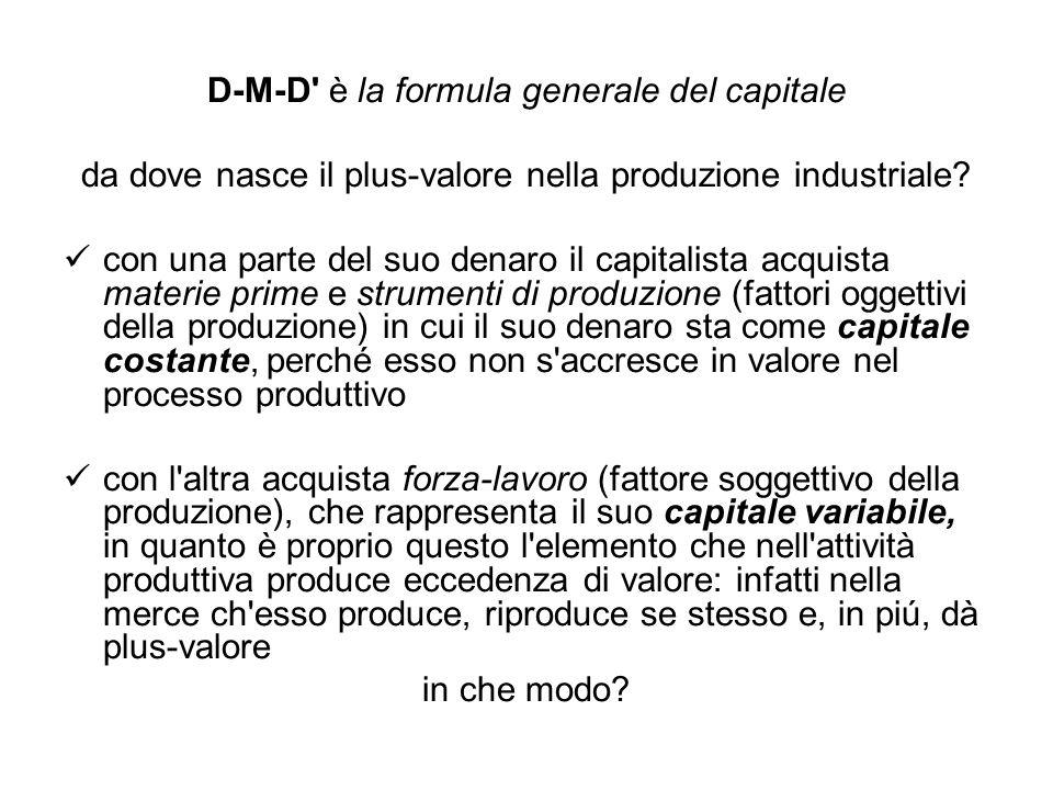 D-M-D è la formula generale del capitale da dove nasce il plus-valore nella produzione industriale.