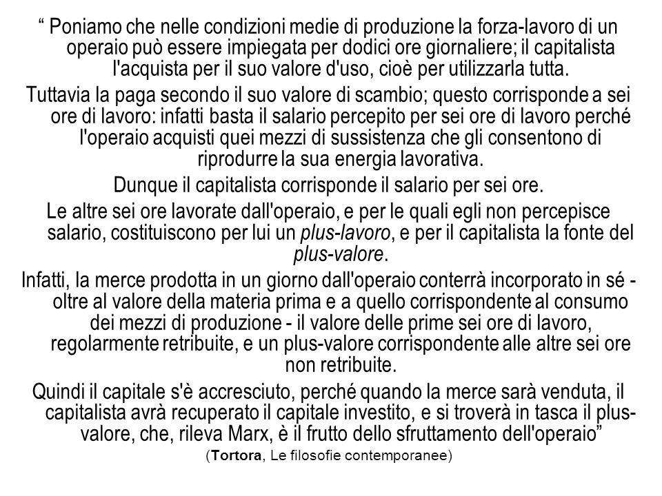 Poniamo che nelle condizioni medie di produzione la forza-lavoro di un operaio può essere impiegata per dodici ore giornaliere; il capitalista l acquista per il suo valore d uso, cioè per utilizzarla tutta.