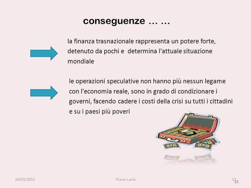 conseguenze … … la finanza trasnazionale rappresenta un potere forte, detenuto da pochi e determina l'attuale situazione mondiale le operazioni specul