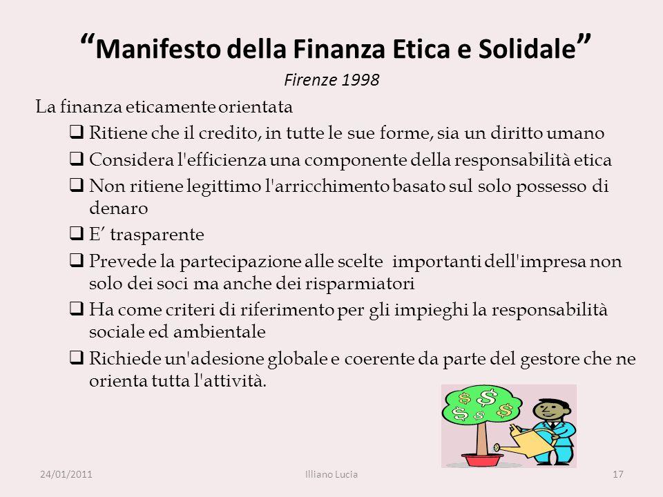 Manifesto della Finanza Etica e Solidale Firenze 1998 La finanza eticamente orientata Ritiene che il credito, in tutte le sue forme, sia un diritto um