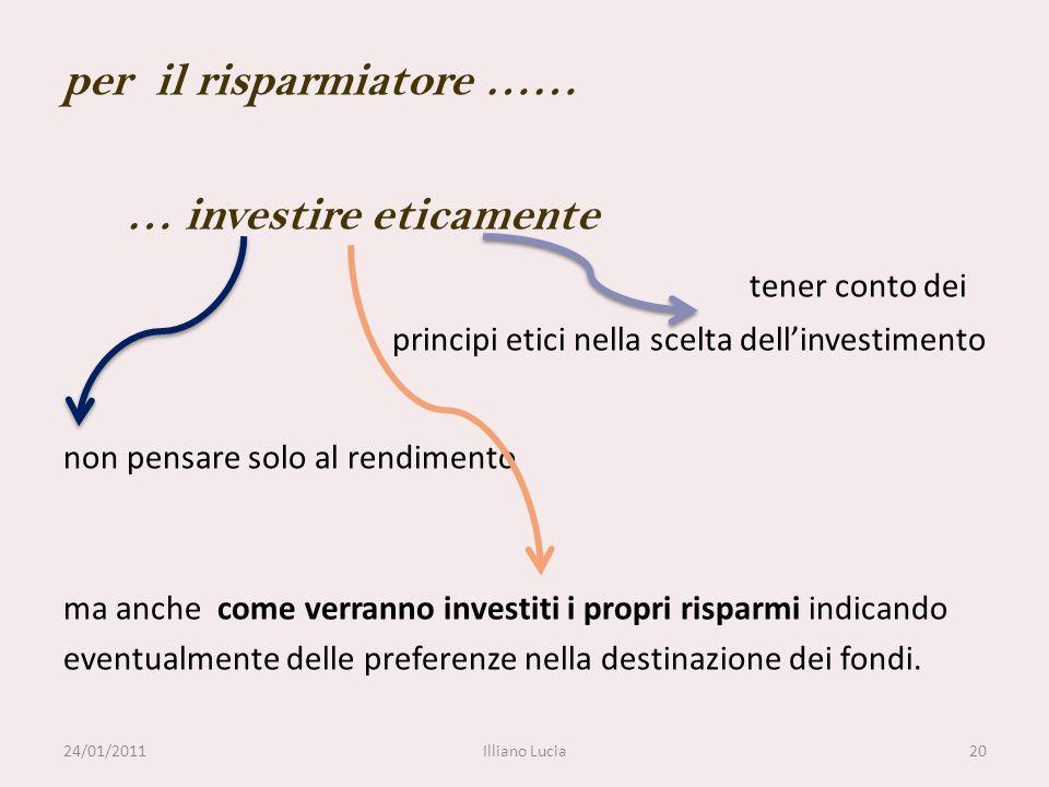 per il risparmiatore …… … investire eticamente tener conto dei principi etici nella scelta dellinvestimento non pensare solo al rendimento ma anche co