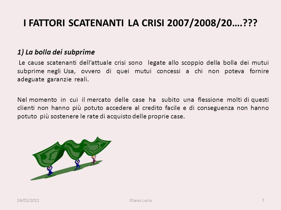 7 I FATTORI SCATENANTI LA CRISI 2007/2008/20….??? 1) La bolla dei subprime Le cause scatenanti dell'attuale crisi sono legate allo scoppio della bolla