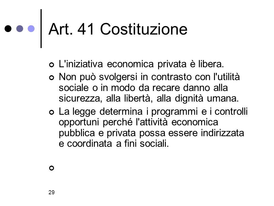 29 Art.41 Costituzione L iniziativa economica privata è libera.