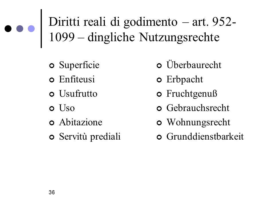 36 Diritti reali di godimento – art.