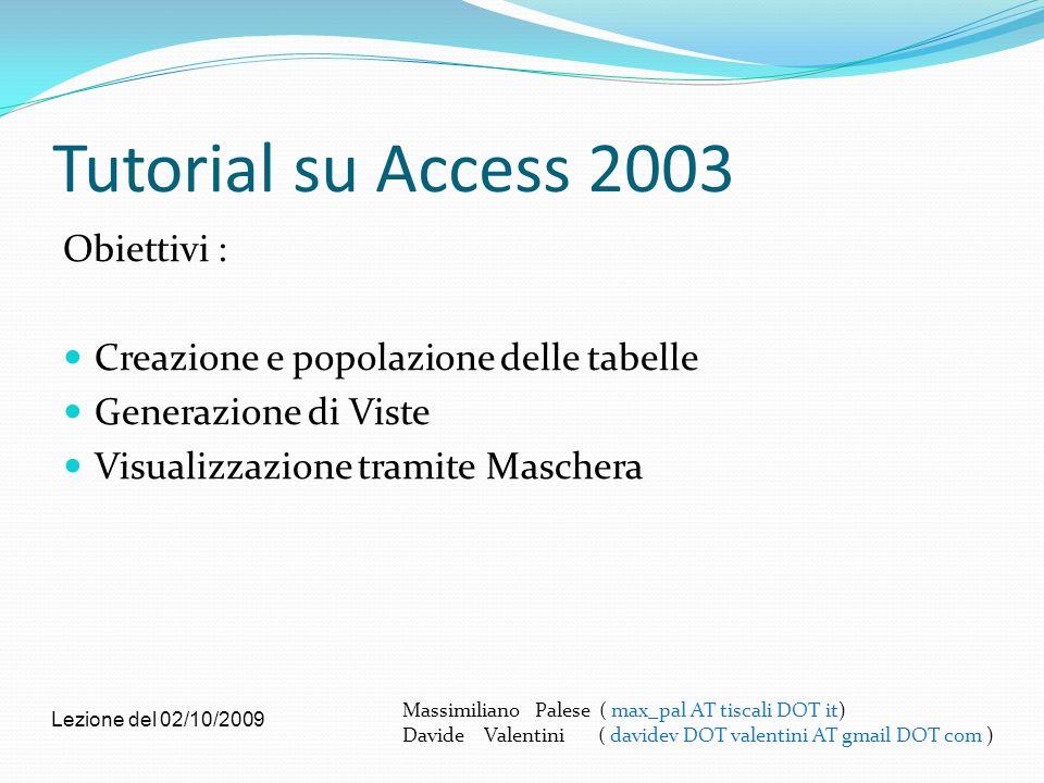 Tutorial su Access 2003 Obiettivi : Creazione e popolazione delle tabelle Generazione di Viste Visualizzazione tramite Maschera Massimiliano Palese (