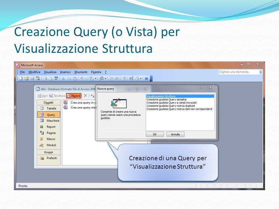 Creazione Query (o Vista) per Visualizzazione Struttura Creazione di una Query per Visualizzazione Struttura
