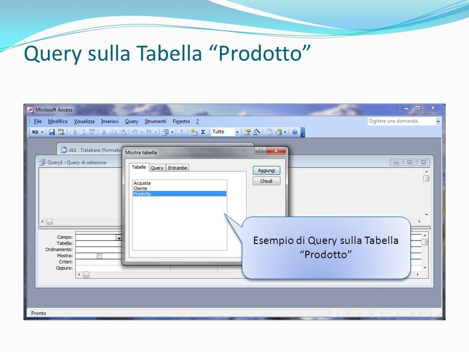 Query sulla Tabella Prodotto Esempio di Query sulla Tabella Prodotto