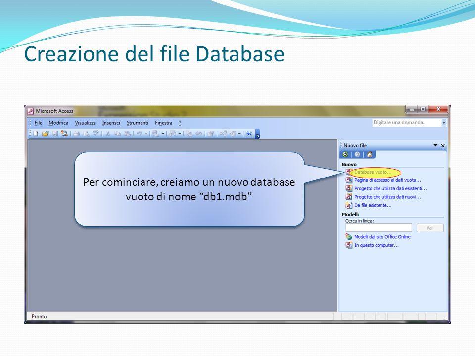 Creazione del file Database Per cominciare, creiamo un nuovo database vuoto di nome db1.mdb