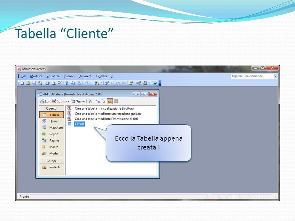 Tabella Cliente Ecco la Tabella appena creata !