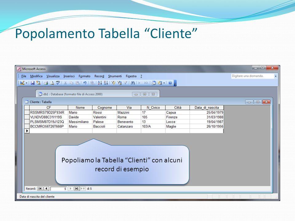 Popolamento Tabella Cliente Popoliamo la Tabella Clienti con alcuni record di esempio