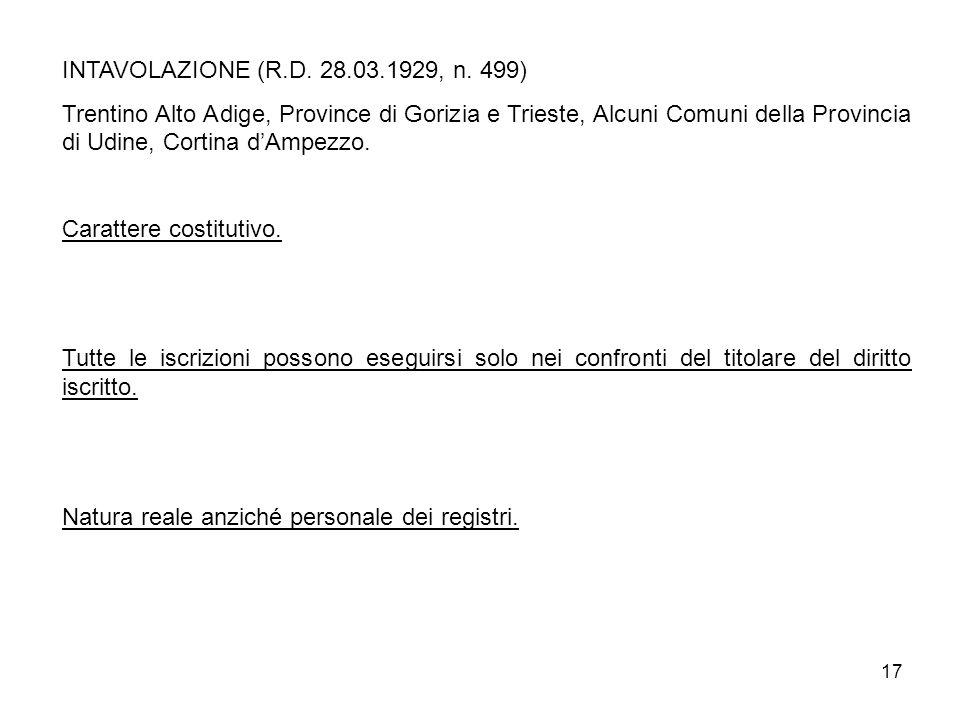 17 INTAVOLAZIONE (R.D. 28.03.1929, n. 499) Trentino Alto Adige, Province di Gorizia e Trieste, Alcuni Comuni della Provincia di Udine, Cortina dAmpezz