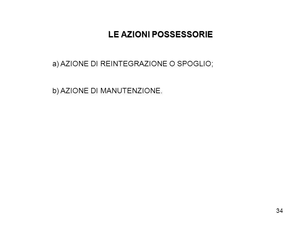 34 LE AZIONI POSSESSORIE a) AZIONE DI REINTEGRAZIONE O SPOGLIO; b) AZIONE DI MANUTENZIONE.