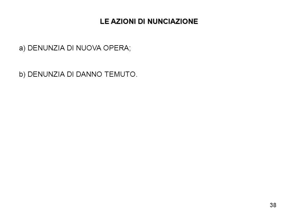 38 LE AZIONI DI NUNCIAZIONE a) DENUNZIA DI NUOVA OPERA; b) DENUNZIA DI DANNO TEMUTO.