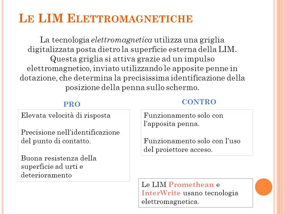 L E LIM E LETTROMAGNETICHE La tecnologia elettromagnetica utilizza una griglia digitalizzata posta dietro la superficie esterna della LIM. Questa grig