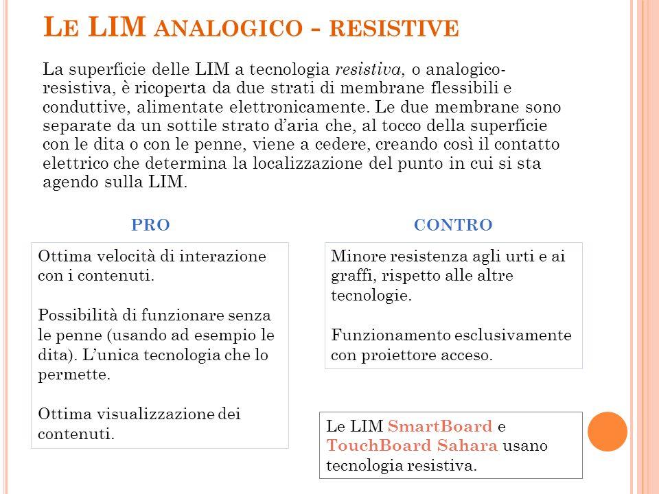 L E LIM ANALOGICO - RESISTIVE La superficie delle LIM a tecnologia resistiva, o analogico- resistiva, è ricoperta da due strati di membrane flessibili