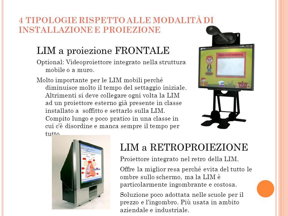 4 TIPOLOGIE RISPETTO ALLE MODALITÀ DI INSTALLAZIONE E PROIEZIONE LIM a proiezione FRONTALE Optional: Videoproiettore integrato nella struttura mobile