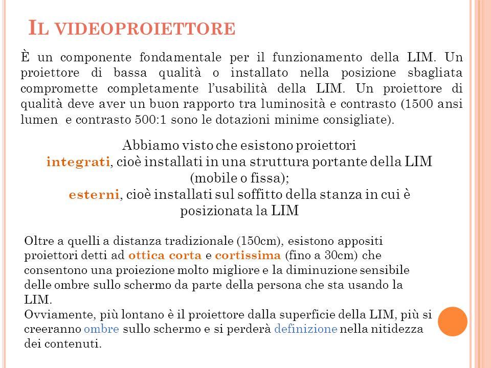 I L VIDEOPROIETTORE È un componente fondamentale per il funzionamento della LIM. Un proiettore di bassa qualità o installato nella posizione sbagliata