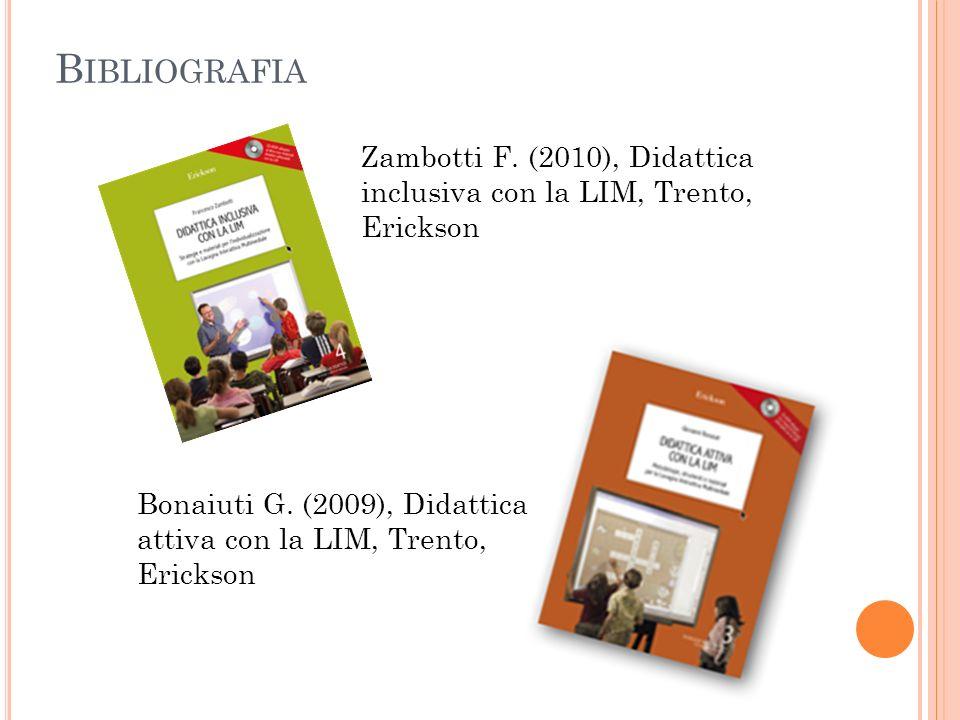 B IBLIOGRAFIA Zambotti F. (2010), Didattica inclusiva con la LIM, Trento, Erickson Bonaiuti G. (2009), Didattica attiva con la LIM, Trento, Erickson
