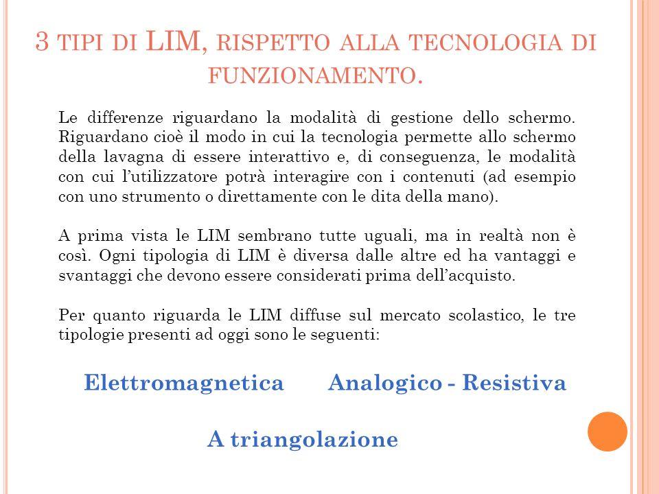 L E LIM E LETTROMAGNETICHE La tecnologia elettromagnetica utilizza una griglia digitalizzata posta dietro la superficie esterna della LIM.