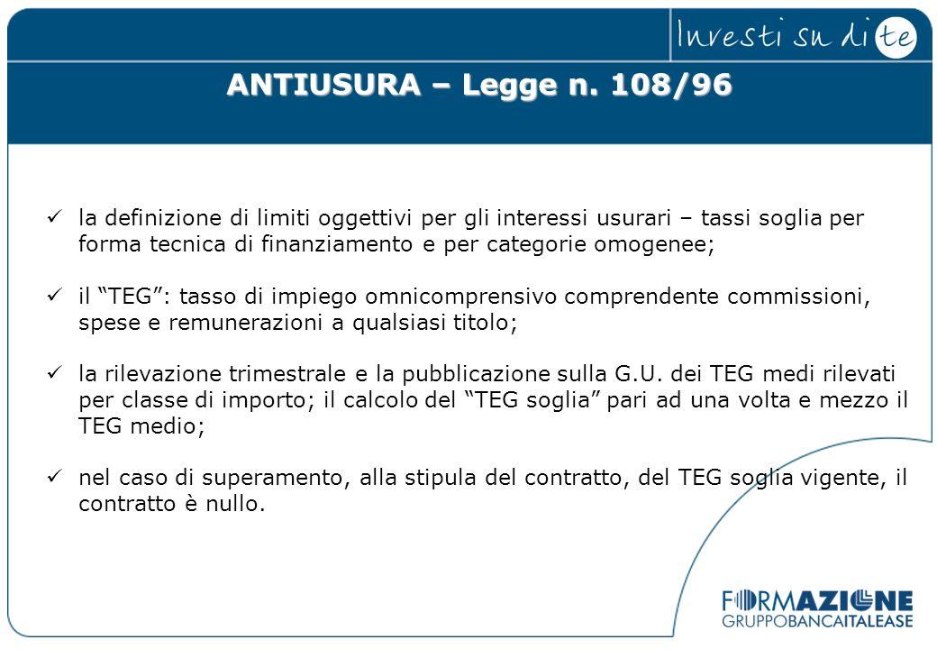 ANTIUSURA – Legge n. 108/96 la definizione di limiti oggettivi per gli interessi usurari – tassi soglia per forma tecnica di finanziamento e per categ