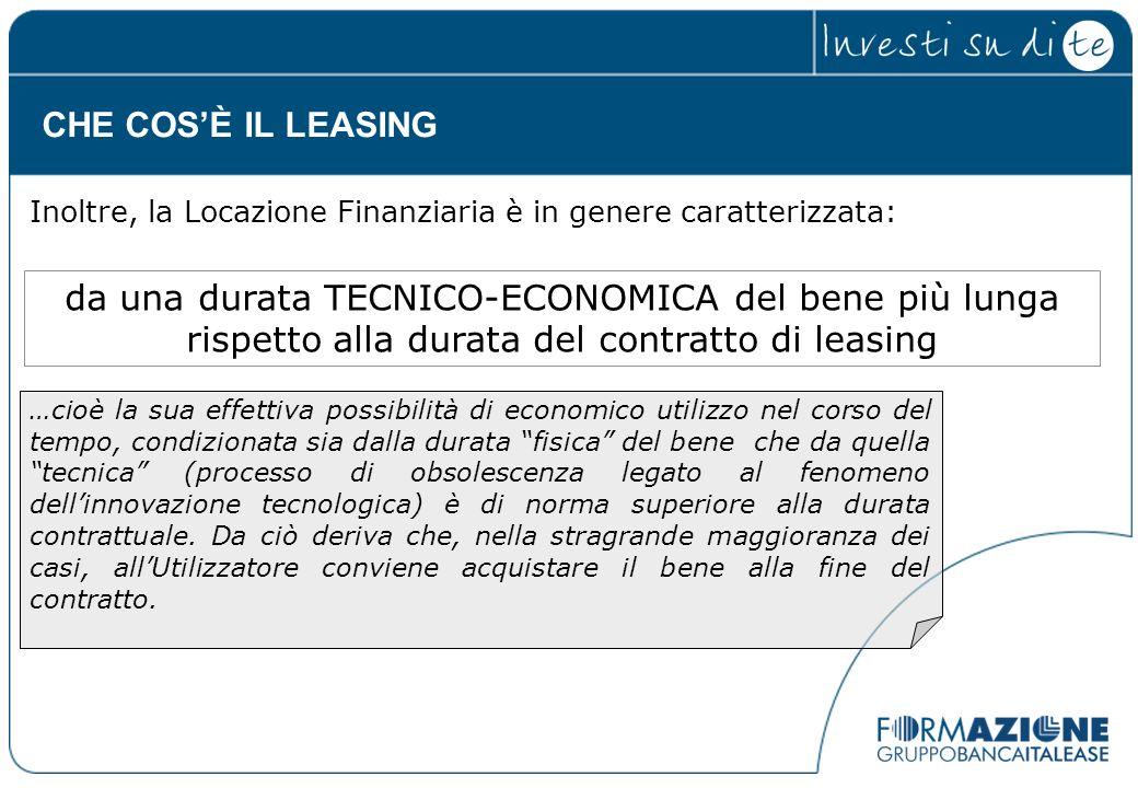da una durata TECNICO-ECONOMICA del bene più lunga rispetto alla durata del contratto di leasing …cioè la sua effettiva possibilità di economico utili