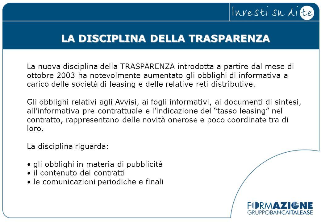LA DISCIPLINA DELLA TRASPARENZA La nuova disciplina della TRASPARENZA introdotta a partire dal mese di ottobre 2003 ha notevolmente aumentato gli obbl