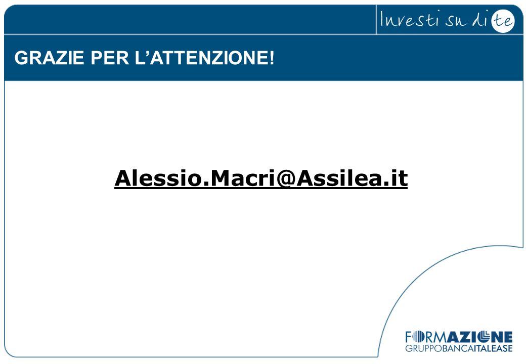 GRAZIE PER LATTENZIONE! Alessio.Macri@Assilea.it