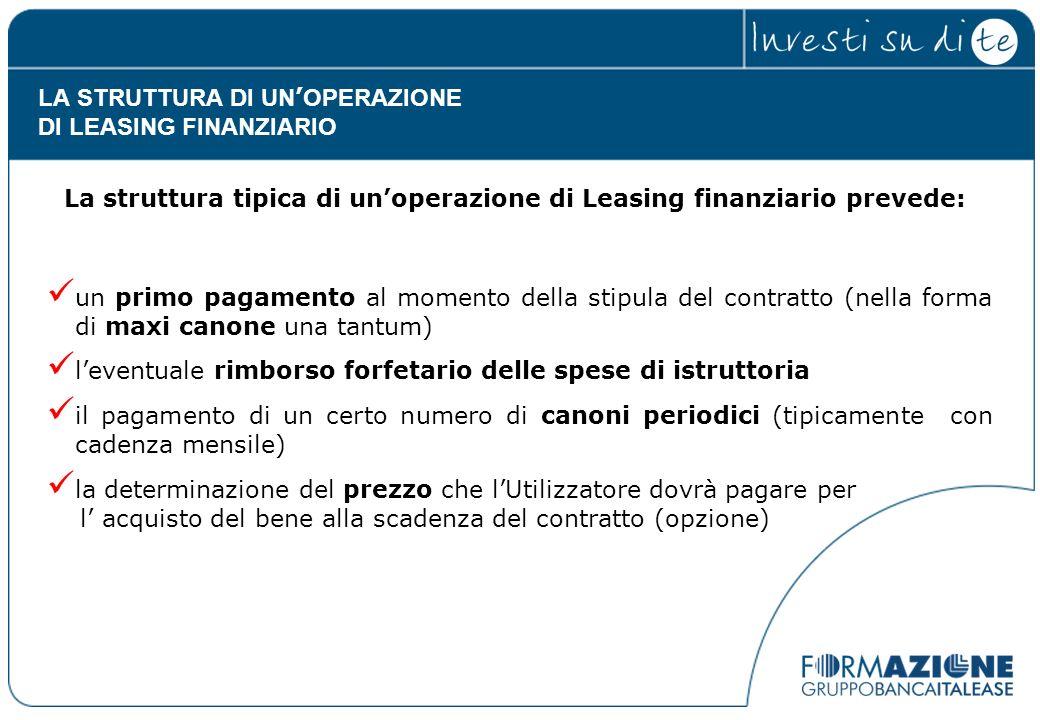 La struttura tipica di unoperazione di Leasing finanziario prevede: un primo pagamento al momento della stipula del contratto (nella forma di maxi can