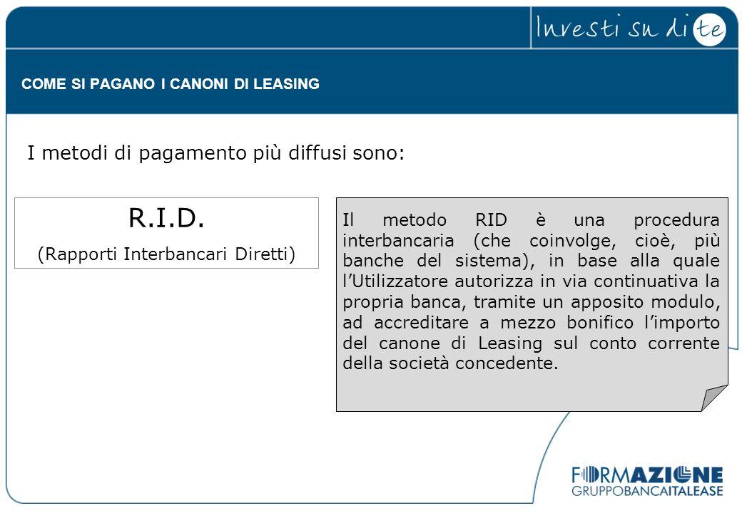 Il metodo RID è una procedura interbancaria (che coinvolge, cioè, più banche del sistema), in base alla quale lUtilizzatore autorizza in via continuat