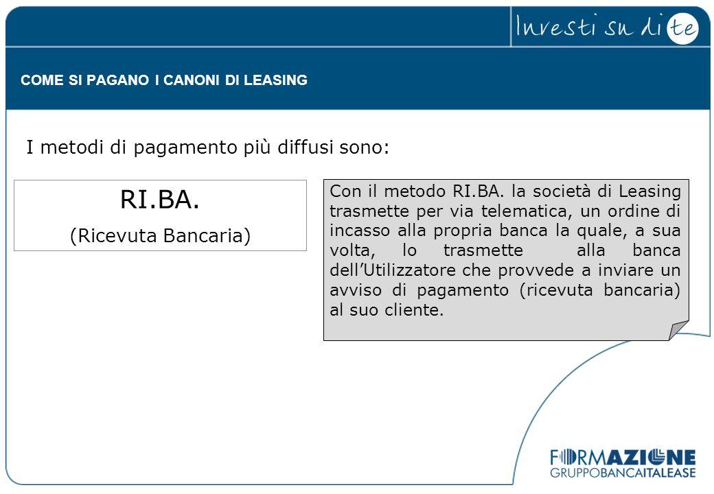 Con il metodo RI.BA. la società di Leasing trasmette per via telematica, un ordine di incasso alla propria banca la quale, a sua volta, lo trasmette a