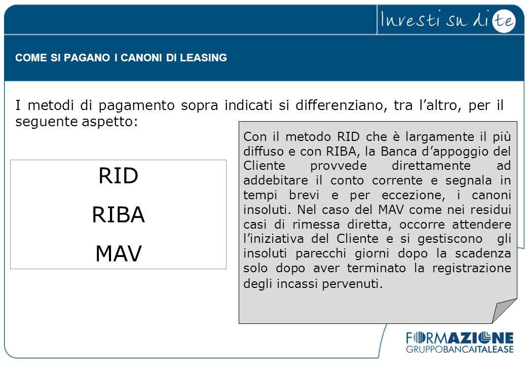 Con il metodo RID che è largamente il più diffuso e con RIBA, la Banca dappoggio del Cliente provvede direttamente ad addebitare il conto corrente e s