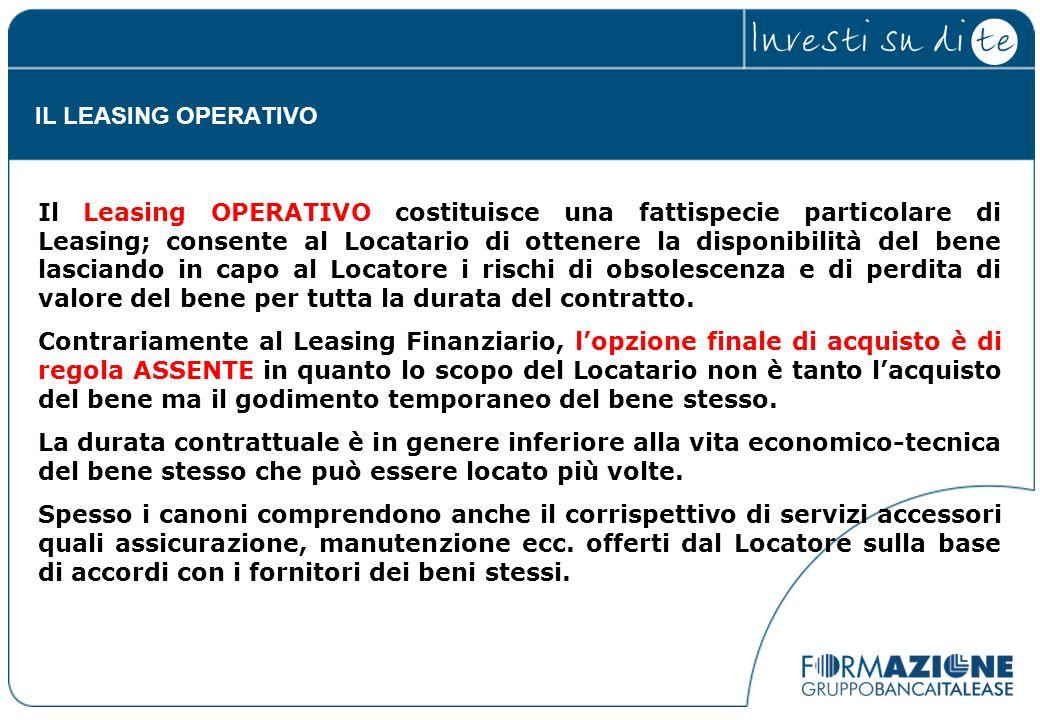 Il Leasing OPERATIVO costituisce una fattispecie particolare di Leasing; consente al Locatario di ottenere la disponibilità del bene lasciando in capo