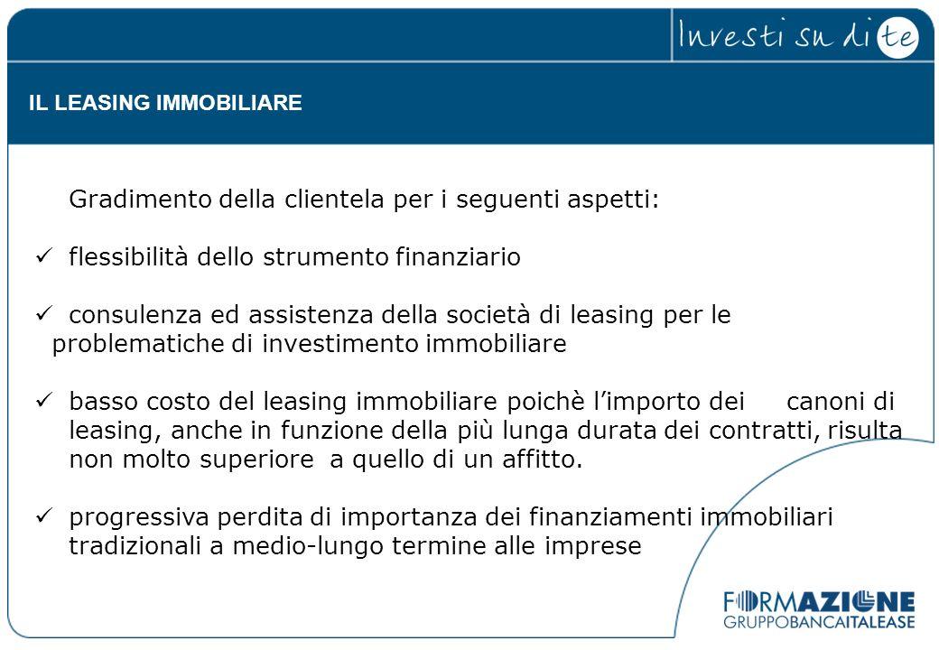 Gradimento della clientela per i seguenti aspetti: flessibilità dello strumento finanziario consulenza ed assistenza della società di leasing per le p