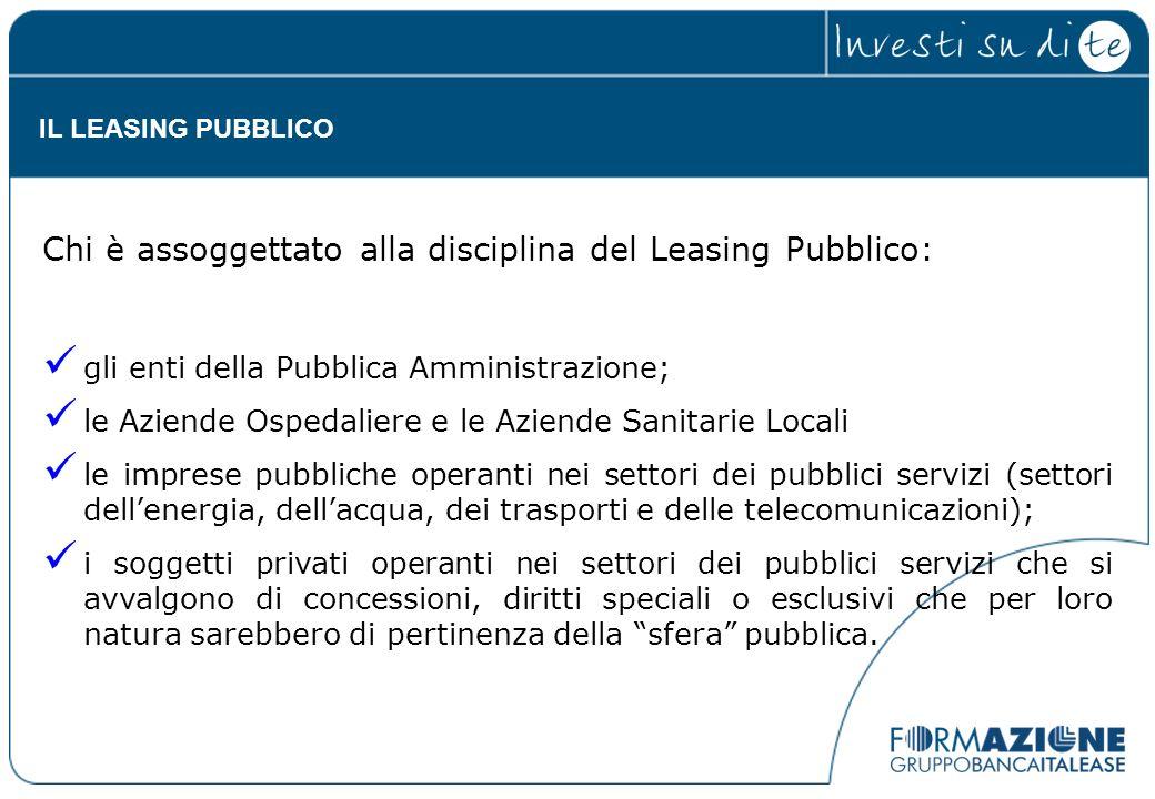 Chi è assoggettato alla disciplina del Leasing Pubblico: gli enti della Pubblica Amministrazione; le Aziende Ospedaliere e le Aziende Sanitarie Locali