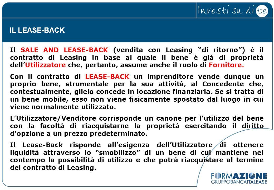 Il SALE AND LEASE-BACK (vendita con Leasing di ritorno) è il contratto di Leasing in base al quale il bene è già di proprietà dellUtilizzatore che, pe