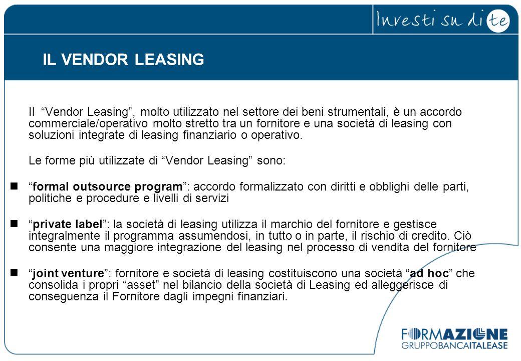 Il Vendor Leasing, molto utilizzato nel settore dei beni strumentali, è un accordo commerciale/operativo molto stretto tra un fornitore e una società