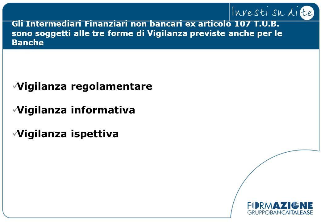 Gli Intermediari Finanziari non bancari ex articolo 107 T.U.B. sono soggetti alle tre forme di Vigilanza previste anche per le Banche Vigilanza regola
