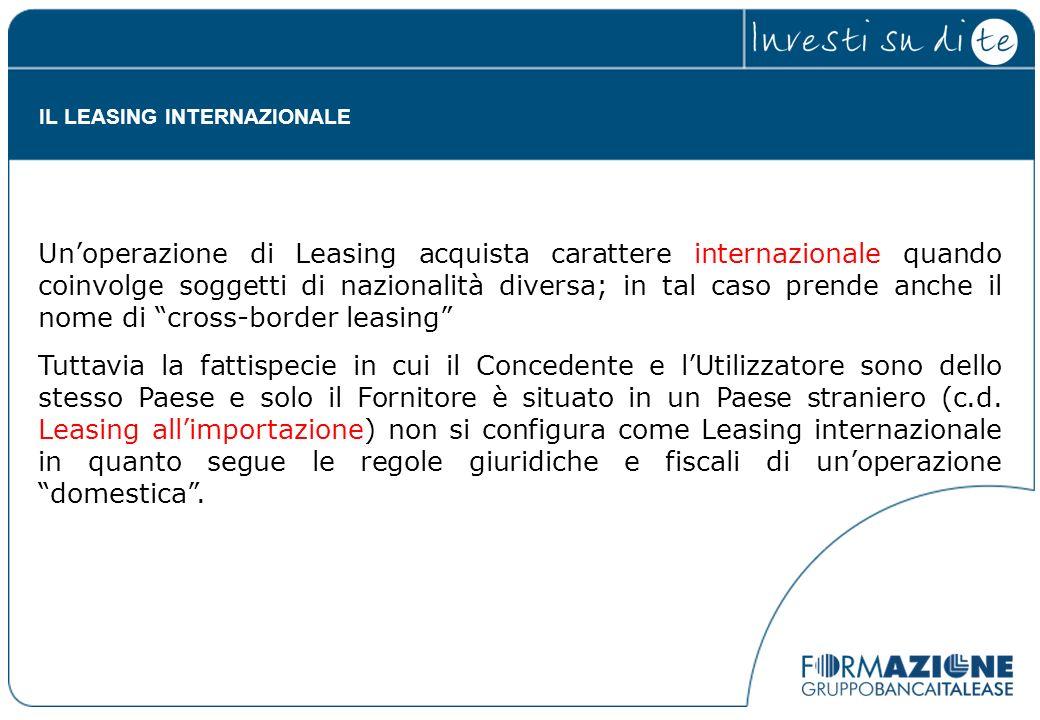Unoperazione di Leasing acquista carattere internazionale quando coinvolge soggetti di nazionalità diversa; in tal caso prende anche il nome di cross-